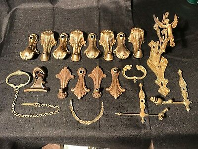 Antique Mixed Lot Old Brass Metal Victorian Lamp wall Sconce, Chandelier Arms