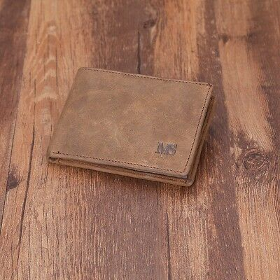 Men Genuine Leather Slim Small Clip ID Credit Card Holder Passcase Purse Wallet