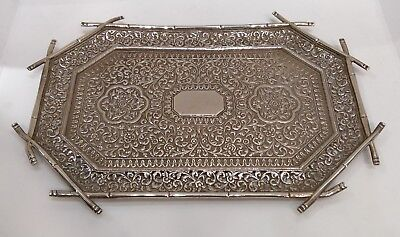 Antique Solid Silver Kutch Tray, Bamboo Borders, Repousse Aesthetic, India C1890