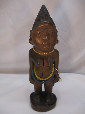 Vintage IBEJI Twin Female Yoruba carved Wood w/ Unusual Broad Face & Features