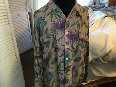 Vintage Floral shirt,unisex size16 ,Ashfield by Duke of Hollywood,yellow/beige