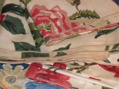 Vintage Lot of Sample & Salvaged Fabric Roses Flowers Crafts Sewing Schumacher