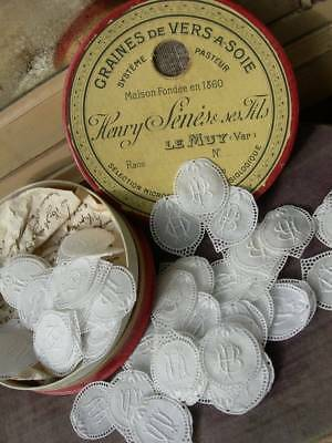Tiny vintage French box full of 82 small handkerchief monograms - projects