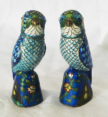 Small Enamel Hand-Painted Pair of Metal Blue Birds with Removable Heads ANTIQUE