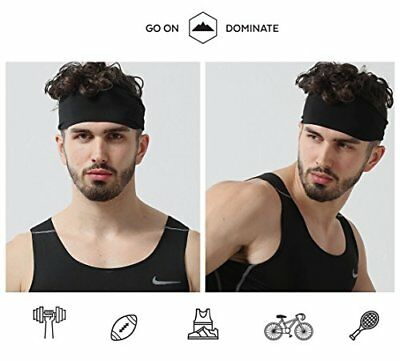 9dc0e81a4e5 Mens Sports Headband Guys Elastic Thin Sweatband Running Workout Gym Black  GIFT