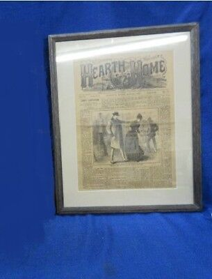 Antique Framed 1890 Hearth and Home Illustrated Monthly Paper Magazine Page