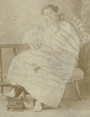 Antique Cabinet Card Photo, Fancy Woman Showing Off Her High Heels, Fashion