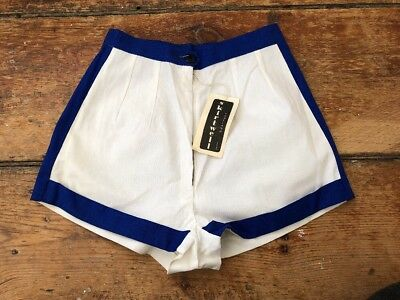 VTG NOS 1950s/60s Skirtwell Blue White High Waist Pin Up Shorts XXS Rockabilly