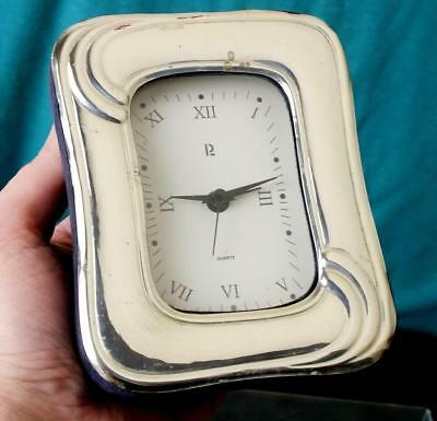 Fine Attractive Italian Solid Silver Mantel / Table Clock With Embossed Motifs