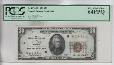 Federal Reserve Note FRBN $20 1929 PCGS Graded very choice new 64PPQ