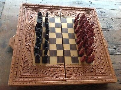 Carved Timber CHESS SET AND BOARD SET Checkers Backgammon Complete
