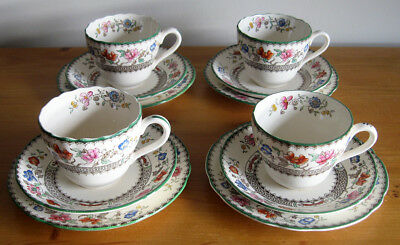 4 x Copeland Spode Vintage 'Chinese Rose' Tea Cup, Saucer & Plate Trios