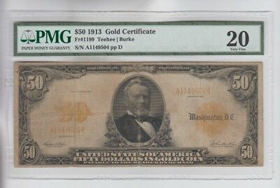 Gold Certificate 1913 $50  PMG Graded vf 20