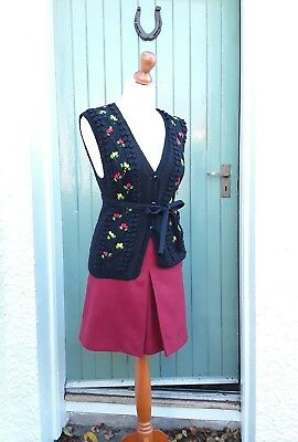 Vintage Hand Knitted Black Waistcoat Red/Yellow Flowers Glass Buttons Size 10