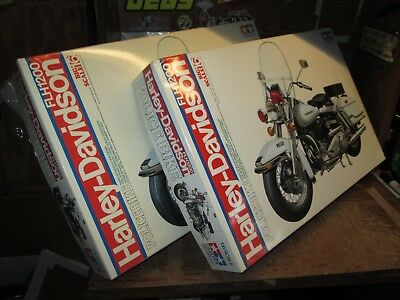 LOT of 2 vintage 1980's Tamiya Harley FLH1200 Police bike KITS 1:6 UN BUILT