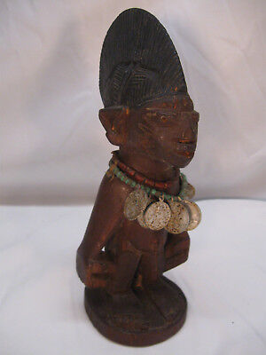 Tribal Vintage ERE IBEJI Twin Male Yoruba w/ Religious Medal Necklace Unusual