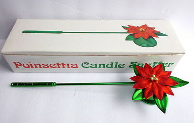 Vintage Christmas Metallic Red Green Poinsettia Candle Snuffer New Dept. 56