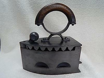 Antique Sad Iron Coal Box Curved Wood Handle Ball Knob Latch Belgium