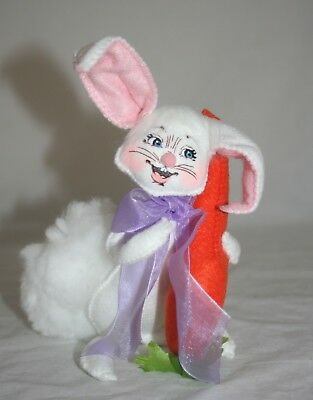 "Annalee Easter 6"" White Rabbit Bunny with Carrot Open Smile NWT"