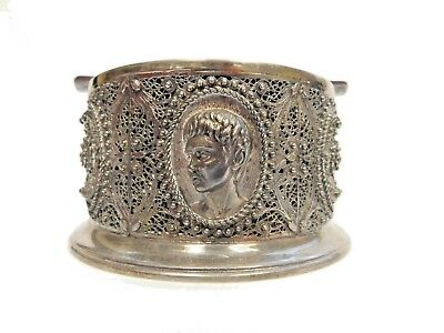 Plata Silver *or* Silver Plate *(Not Sure)* Ashtray With Filigree And Portrait
