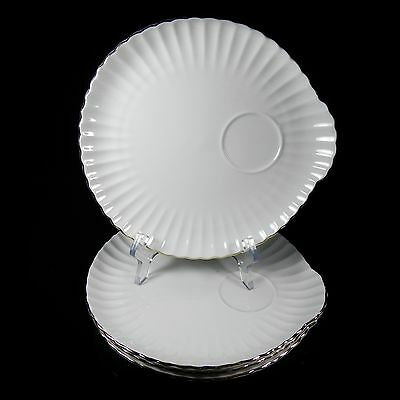 4 White Snack Plates Crown Staffordshire Gold Scalloped Ribbed Pattern CRS81