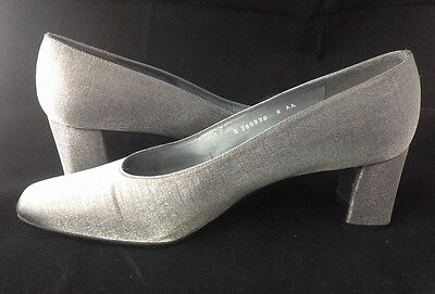 07a960f892dc Stuart Weitzman Pumps Womens Shoes Metallic Silver Pewter Fabric Chunky Heel  8AA