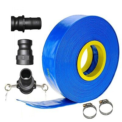 "30m x 1.5"" 25mm ID Outlet Layflat Hose Kit Camlock Clamps Water Transfer Pump"