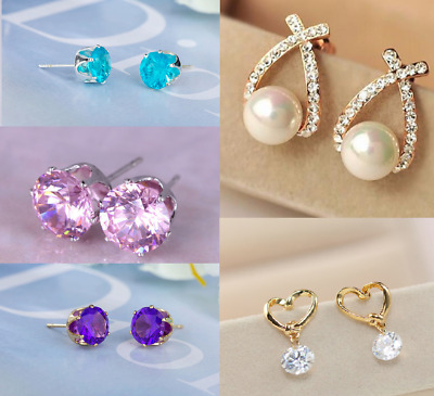 Elegant earrings silver/gold plated, austrian crystal, pearl, cubic zirconia,box