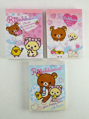 San-x Rilakkuma Bubble Bath Spa Day Mini Memo Pad LOT Stationery Kawaii Penpal
