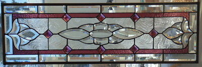 """Stained Glass window Transom or Sidelight  hanging 35 X 11 1/4"""""""