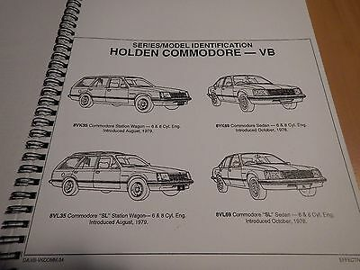 HOLDEN GMH ID INFORMATION & CODES , Commodore VB to VK  IN Printed Format