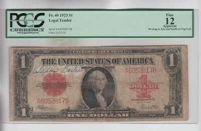 Red Seal  $1 1923  PCGS fine 12 apparent read