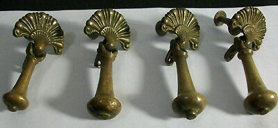 Vintage/antique Lot Of Four Brass Drawer Pulls- Victorian Tear Drop-Numbered