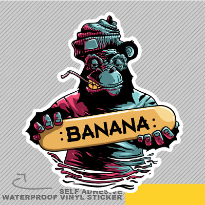 Banana gorilla skateboard skate vinyl sticker decal window car van bike 2768