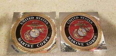 USMC United States Marine Corps Crome Decal Marine Corps Sticker Decal set of 2