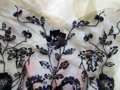 Antique Elaborate Sequined Tiny Glass Beaded Cotton Tulle Front Bodice Fabric Pc