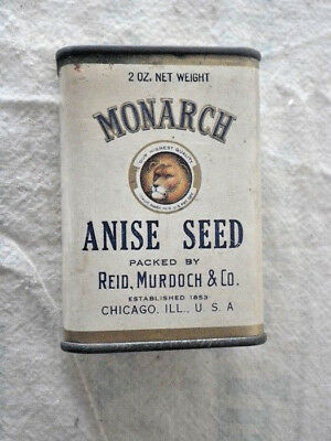 Vintage 2 oz Monarch Anise Seed Tin Spice can