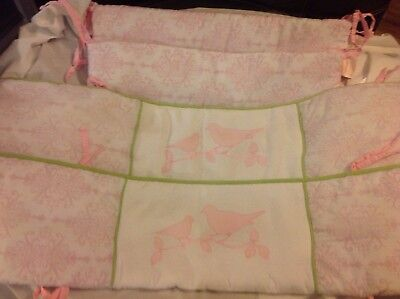 Wendy Bellissimo Gracie Crib Bumper - Pink Green White Nursery Birds