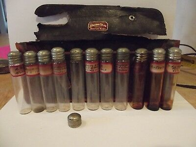 Antique J Frank Gear, M.D. Apothecary Medical Kit with 11 bottles and one cap