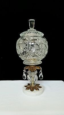Vintage Crystal Glass Globe Compote Marble Base Prisms Apothecary Style