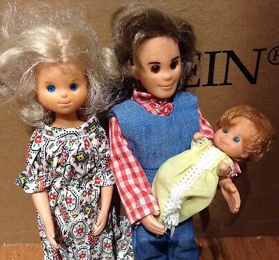 VINTAGE 1973 Mattel The Sunshine Family -Steve ,Stephie, & Sweets Dolls
