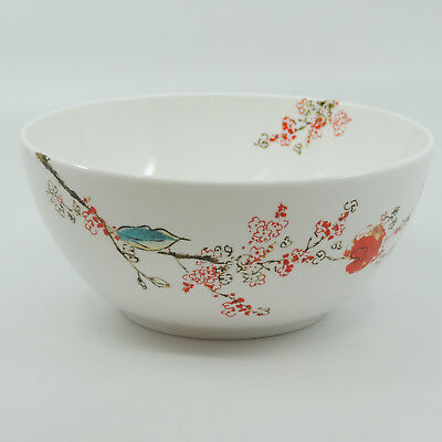 "CHIRP by Lenox Simply Fine White Flowers Birds Pasta / Soup Bowl 7""."