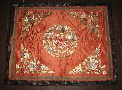 Antique Runner CHINESE Embroidered Table cover Tablecloth Scarf Mat Throw SILK