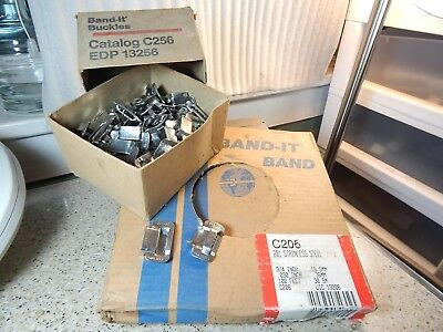 "NOS Band-It Band 201 Stainless Steel 3/4"" 100 Feet C206 & 85ct Band-it Buckles"