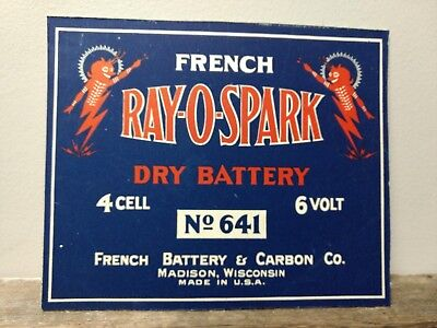 """Near mint """"Devil Graphic"""" Ray-O-Spark  1940 """"s Dry Battery Store Display"""