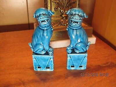 Vintage Pair of Turquoise Blue Chinese Foo Dog Figurines Statues Foo Dogs