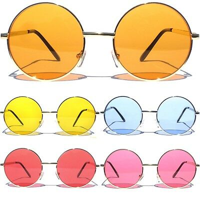 3ae84fdaf1ca ROUND SUNGLASSES Gold Color Metal Frame Lennon Ozzy Style Hippie Color Lens