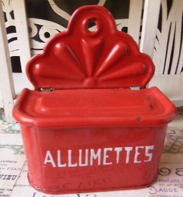 Charming Rare Vintage French Enamel ALLUMETTES Matches Box in Bold Red
