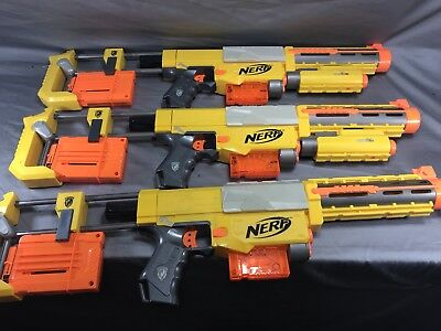 Lot Of 3 Nerf N-Strike Recon Cs-6 With Shoulder Stock, Barrel Extension, 6 Clips