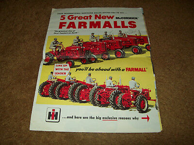 IH Farmall Firsts Tractor Dealer Sales Brochure Cub 100 200 300 400 Nice Color